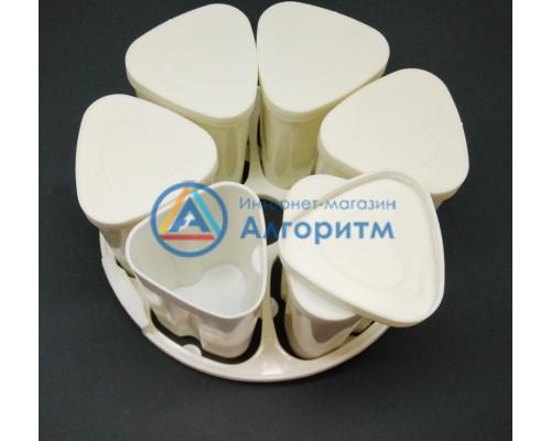 Баночки для мультиварок пластиковые 5 штук с подставкой диаметром 180 мм.